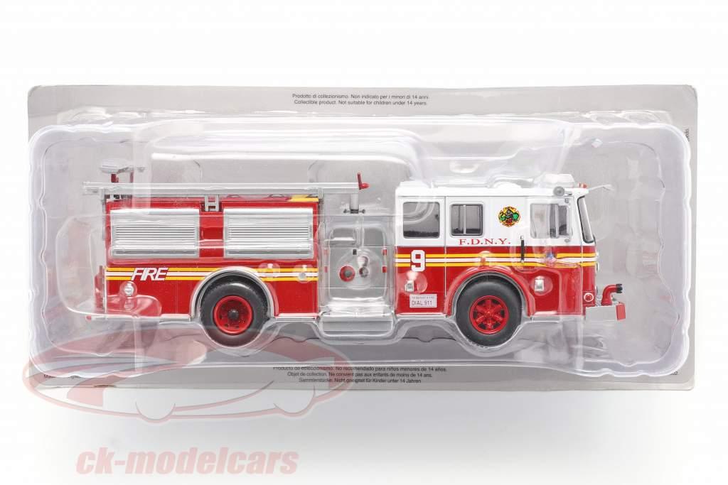 Seagrave Fire Truck Brandweer New York rood / Wit 1:43 Altaya