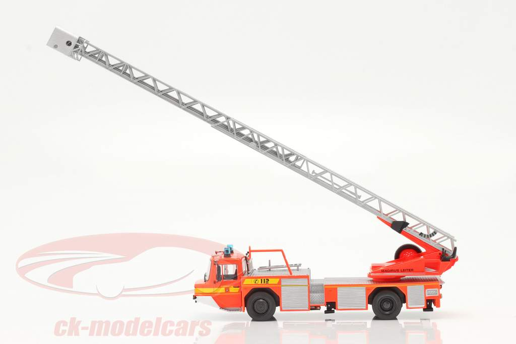 Iveco Magirus DLK 23-12 Con Escalera giratoria cuerpo de Bomberos Lam rojo naranja 1:43 Altaya