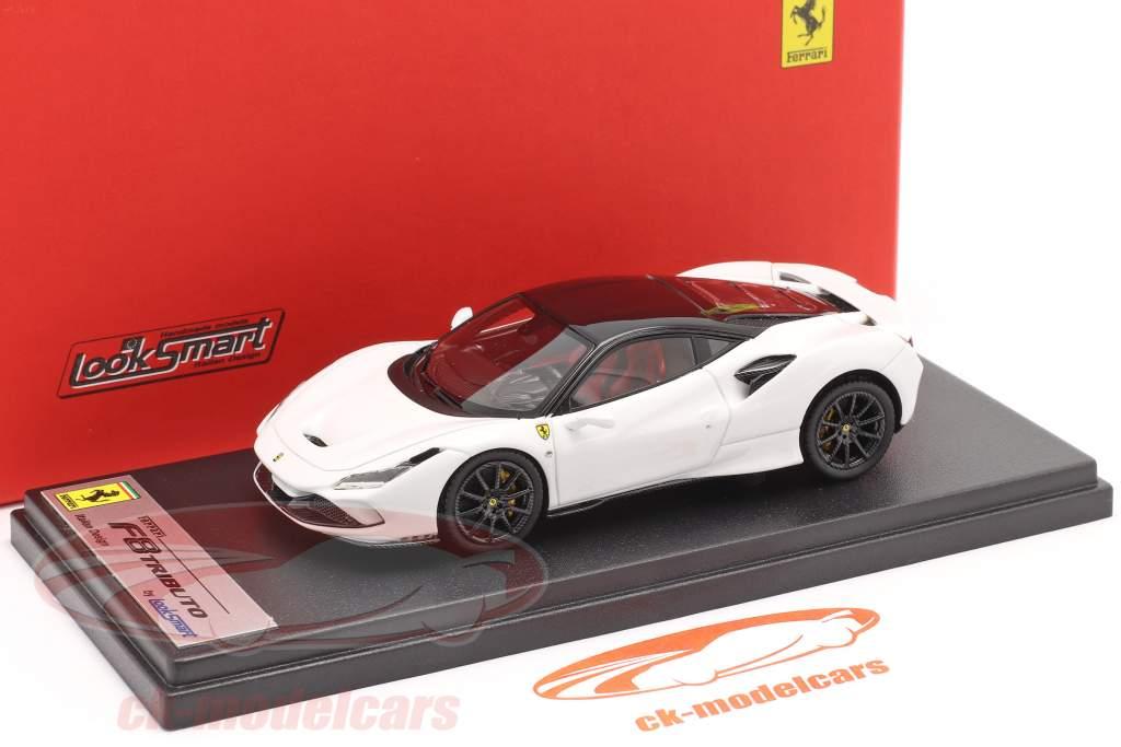 Ferrari F8 Tributo Año de construcción 2019 cervino blanco / negro 1:43 LookSmart