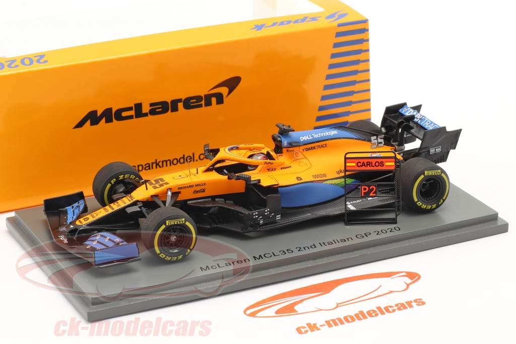Carlos Sainz McLaren MCL35 #55 2do italiano GP fórmula 1 2020 1:43 Spark