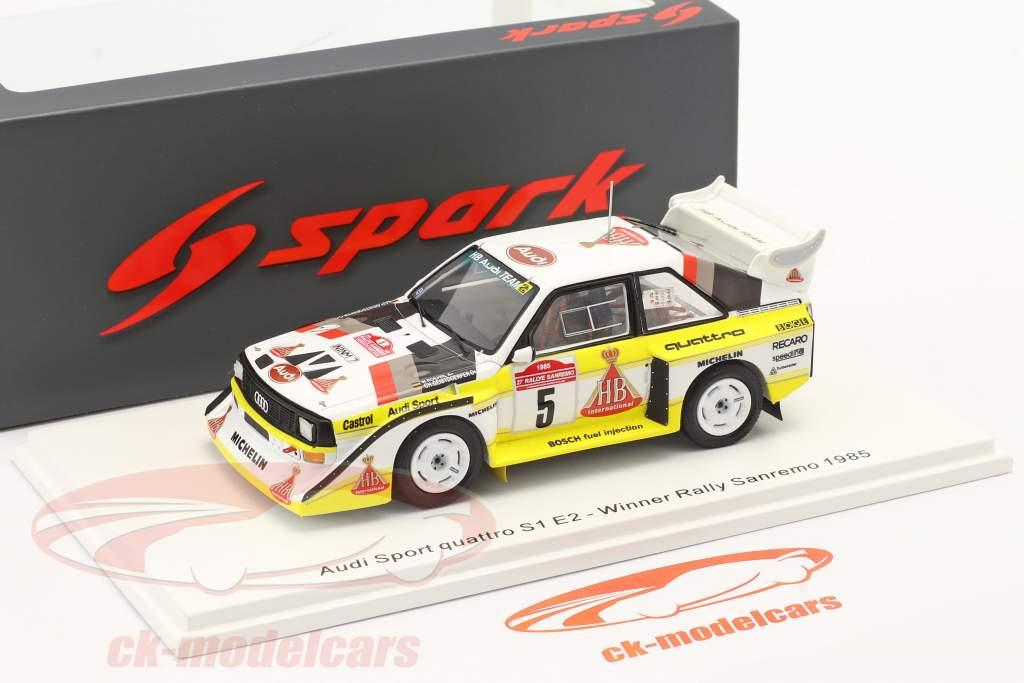 Audi Quattro Sport E2 #5 gagnant Rallye SanRemo 1985 Röhrl, Geistdörfer 1:43 Spark