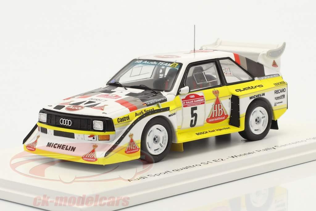 Audi Quattro Sport E2 #5 vincitore Rallye SanRemo 1985 Röhrl, Geistdörfer 1:43 Spark