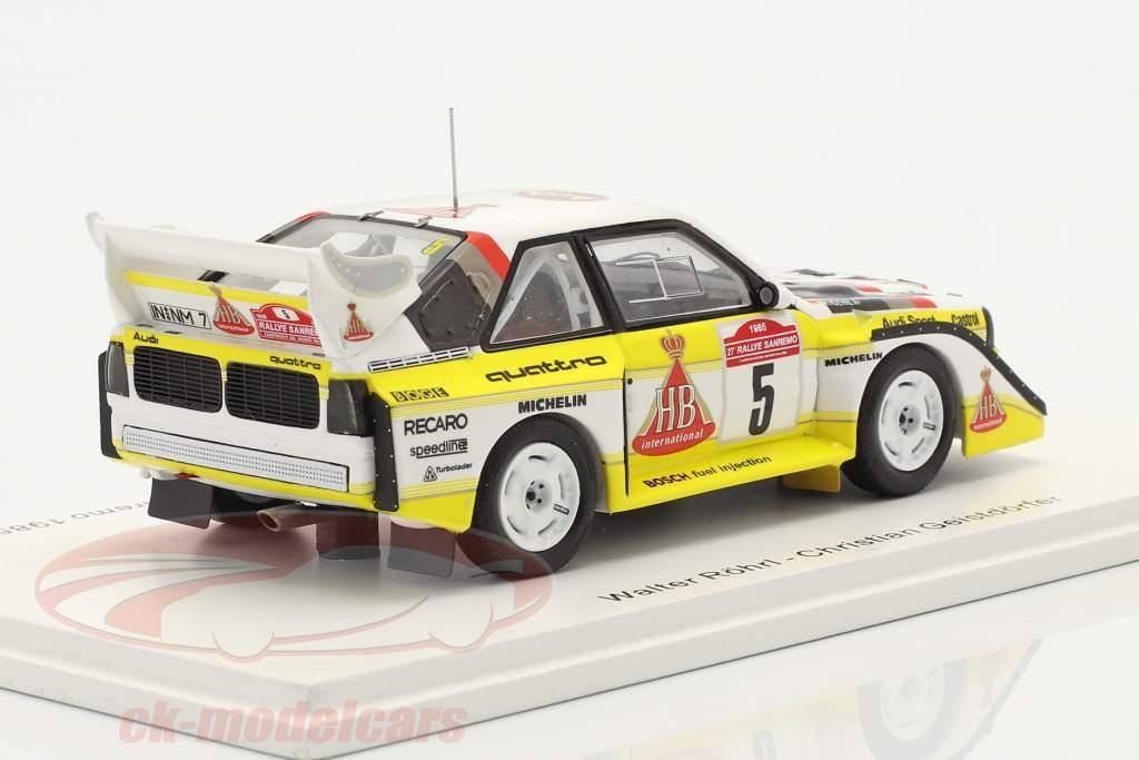 Audi Quattro Sport E2 #5 winnaar Rallye SanRemo 1985 Röhrl, Geistdörfer 1:43 Spark