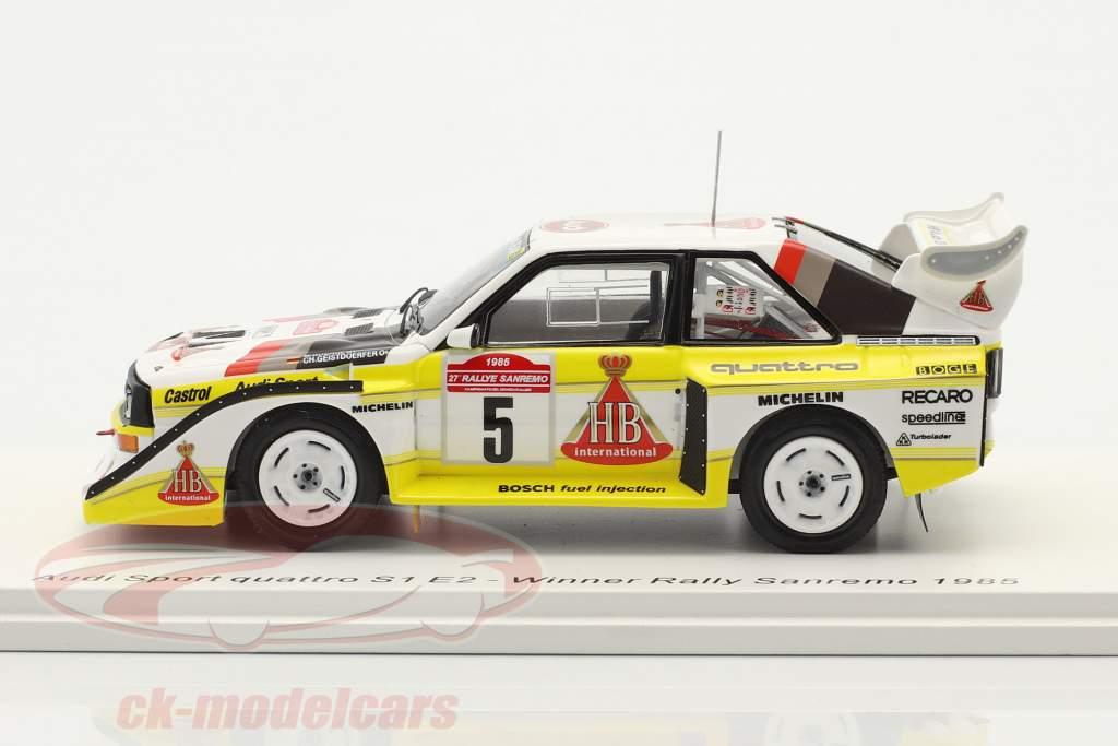Audi Quattro Sport E2 #5 勝者 Rallye SanRemo 1985 Röhrl, Geistdörfer 1:43 Spark