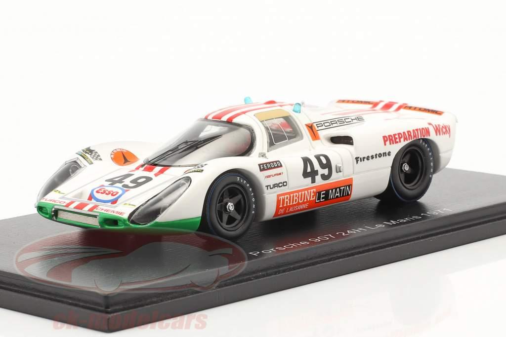 Porsche 907 #49 winnaar P2.0 klasse 24h LeMans 1971 Brun, Mattli 1:43 Spark