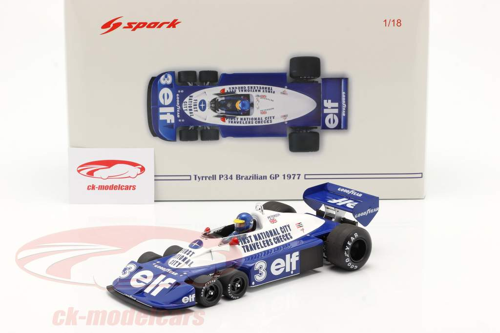 Ronnie Peterson Tyrrell P34 seks hjul #3 Brasiliansk GP formel 1 1977 1:18 Spark