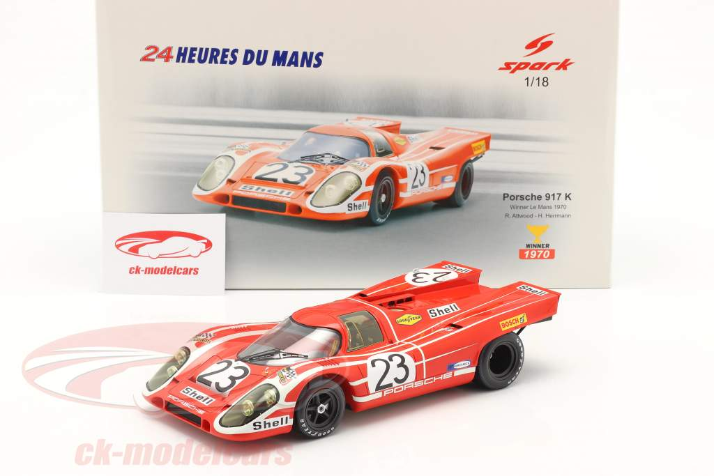 Porsche 917K #23 ganador 24h LeMans 1970 Attwood, Herrmann 1:18 Spark