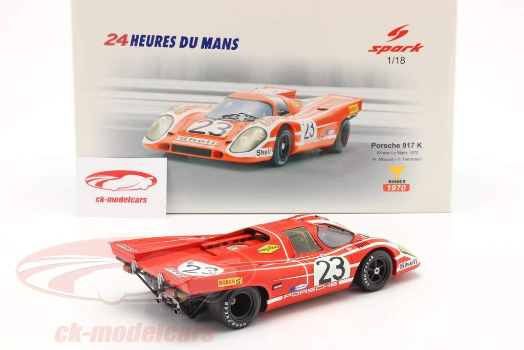 Porsche 917K #23 winnaar 24h LeMans 1970 Attwood, Herrmann 1:18 Spark