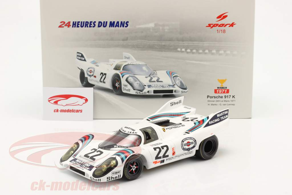 Porsche 917K #22 winnaar 24h LeMans 1971 Marko, van Lennep 1:18 Spark