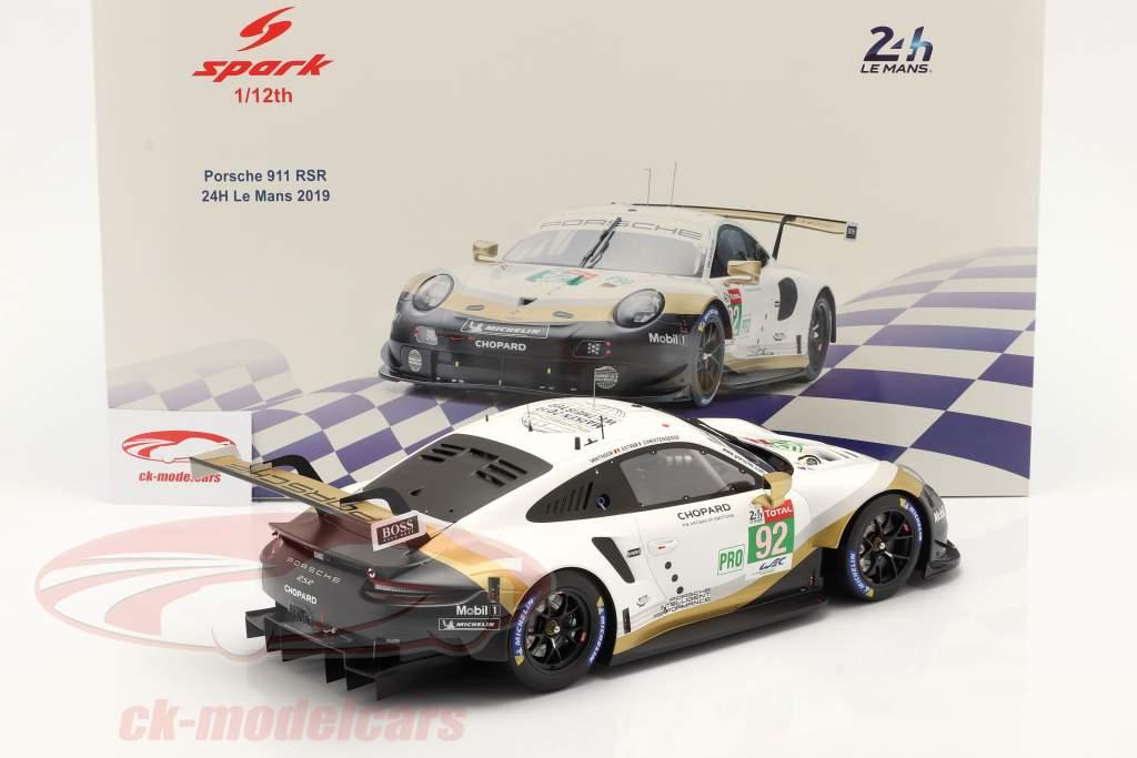 Porsche 911 RSR GTE #92 24h LeMans 2019 Christensen, Estre, Vanthoor 1:12 Spark