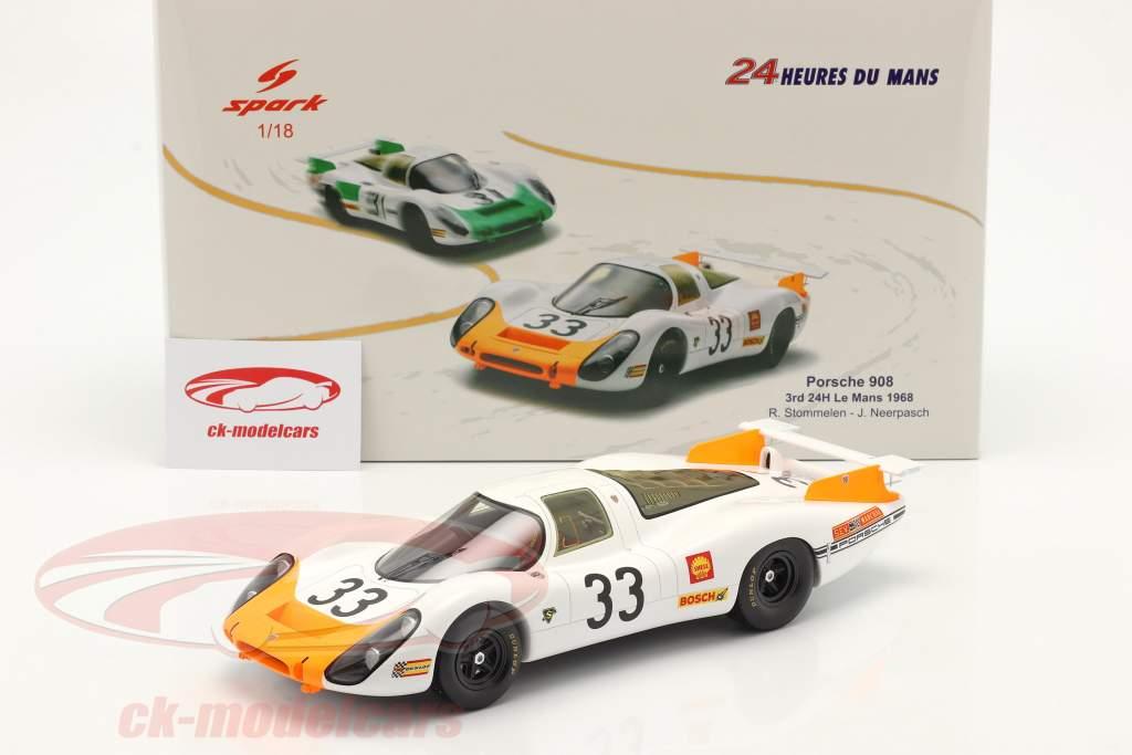 Porsche 908 Coupe #33 Tercero 24h LeMans 1968 Stommelen, Neerpasch 1:18 Spark