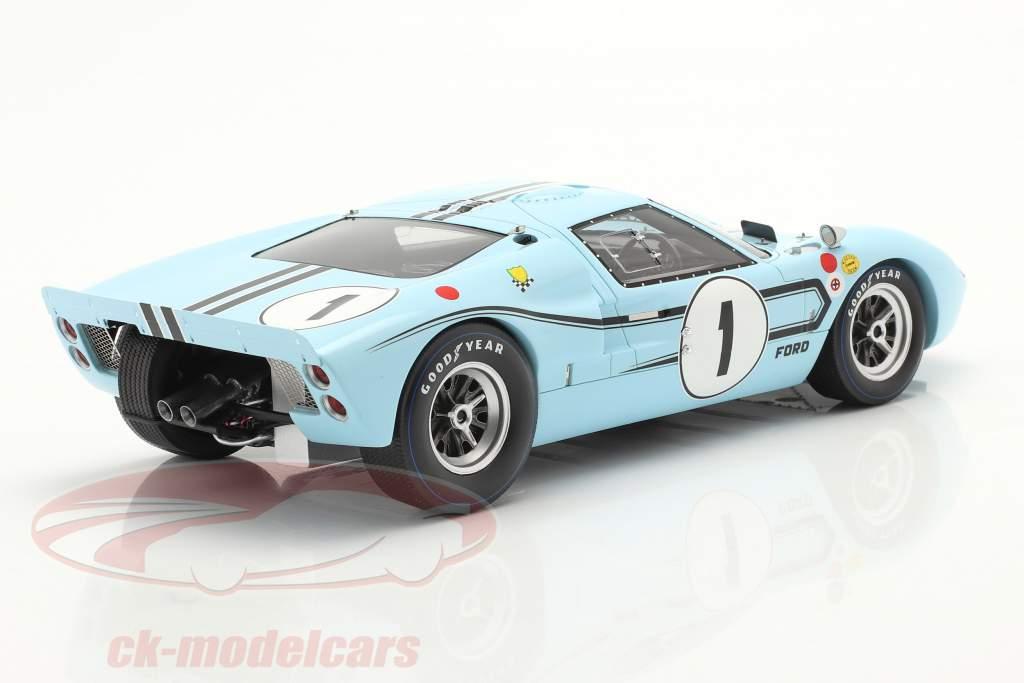 Ford GT40 MK2B #1 vencedora 12h Reims 1967 Ligier, Schlesser 1:18 Spark