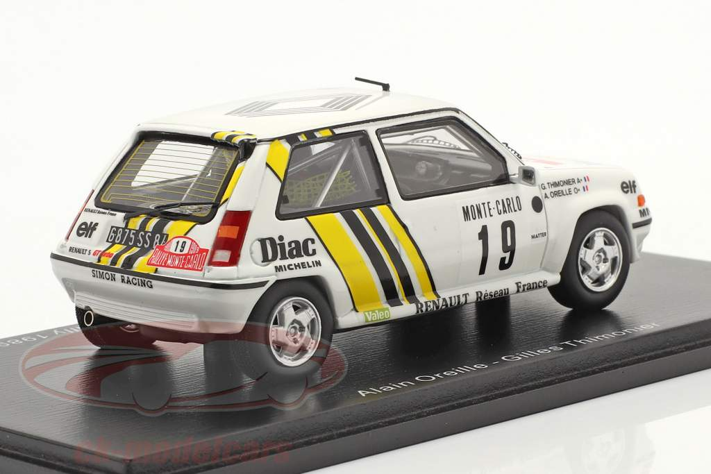 Renault 5 GT Turbo #19 Rallye Monte Carlo 1989 Oreille, Thimonier 1:43 Spark