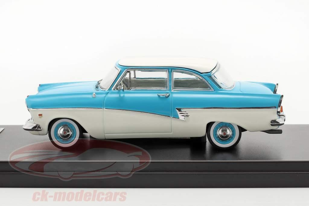 Ford Taunus 17M jaar 1957 blauw / wit 1:43 Premium X