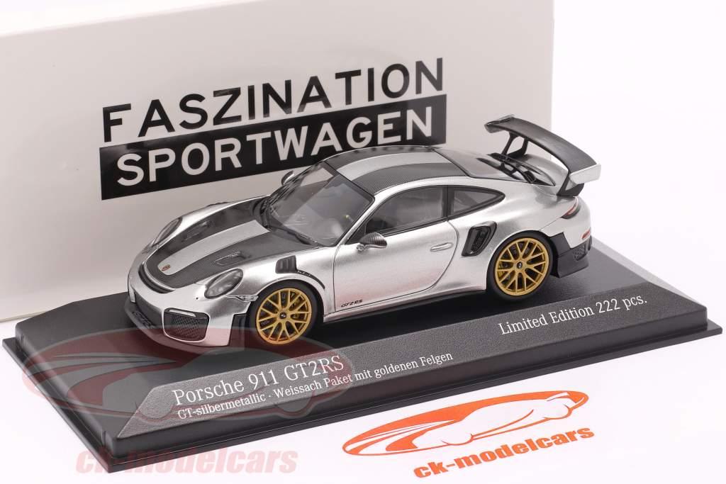 Porsche 911 (991 II) GT2 RS Weissach Package 2018 GT zilver metallic / gouden velgen 1:43 Minichamps