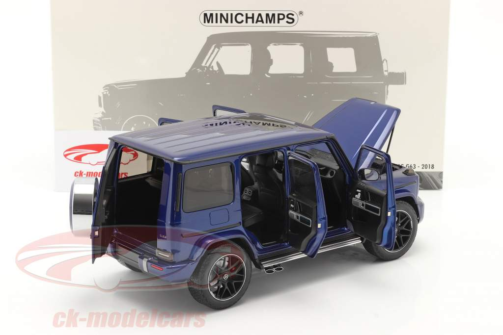 Mercedes-Benz AMG G63 Byggeår 2018 blå metallisk 1:18 Minichamps