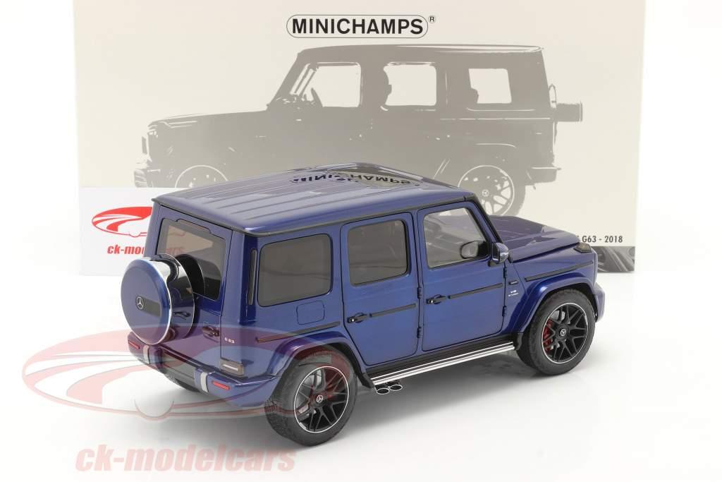 Mercedes-Benz AMG G63 Anno di costruzione 2018 blu metallico 1:18 Minichamps