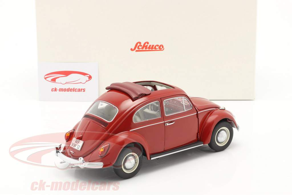 Volkswagen VW Beetle with folding roof  year 1963 red 1:18 Schuco