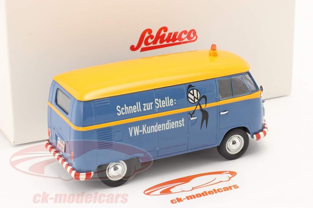 Volkswagen VW Typ 2 T1b Kastenwagen VW Kundendienst blau / gelb 1:32 Schuco