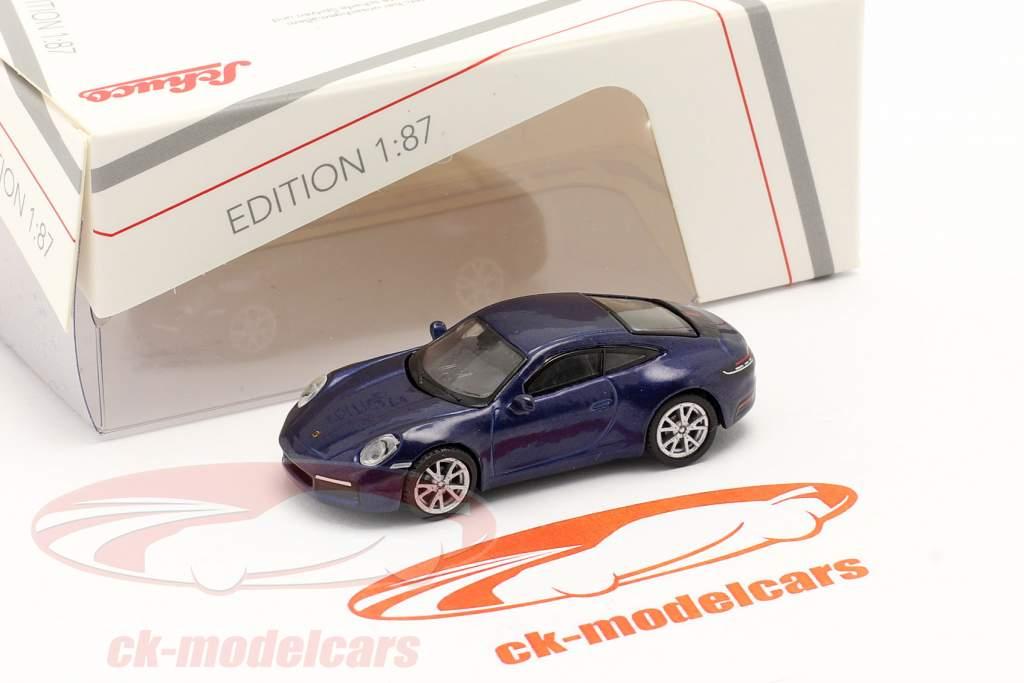 Porsche 911 (992) Carrera S Coupe blauw metalen 1:87 Schuco