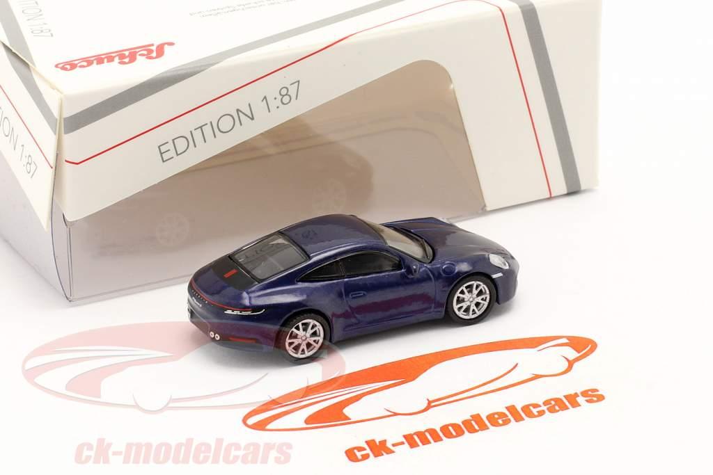 Porsche 911 (992) Carrera S Coupe blu metallico 1:87 Schuco