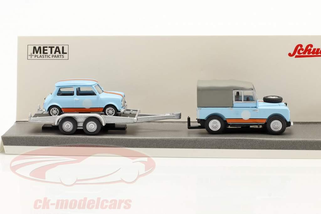 3-Car Set British Racing: Land Rover 88 Con trailer e Mini 1:87 Schuco
