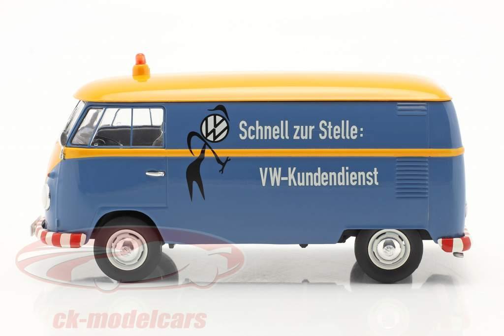 Volkswagen VW Type 2 T1b Van VW Klantenservice blauw / geel 1:32 Schuco