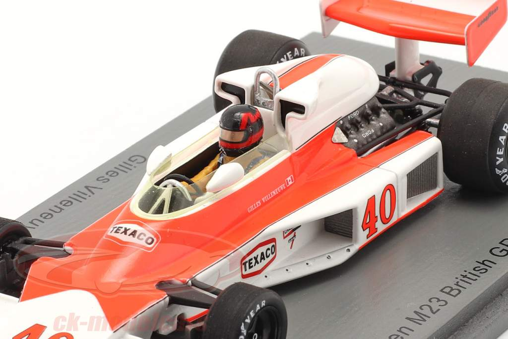 Gilles Villeneuve McLaren MCL23 #40 Brits GP formule 1 1977 1:43 Spark