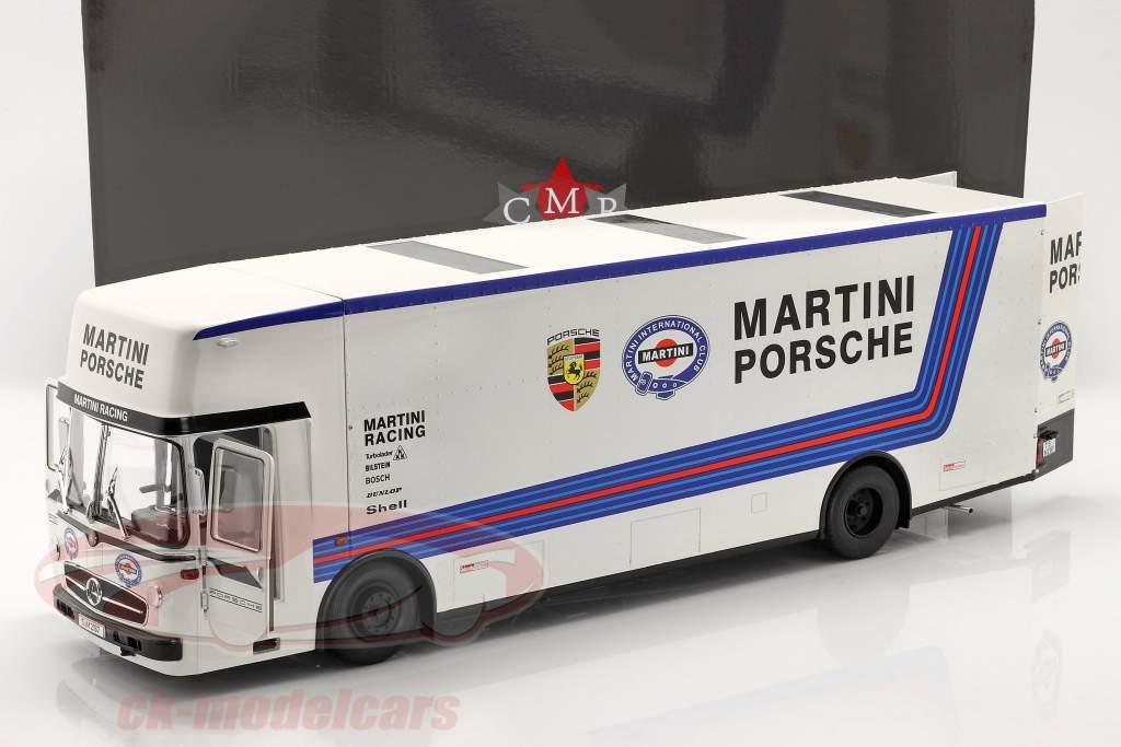 Mercedes-Benz O 317 Course Auto Transporteur Porsche Martini Racing blanc 1:18 CMR