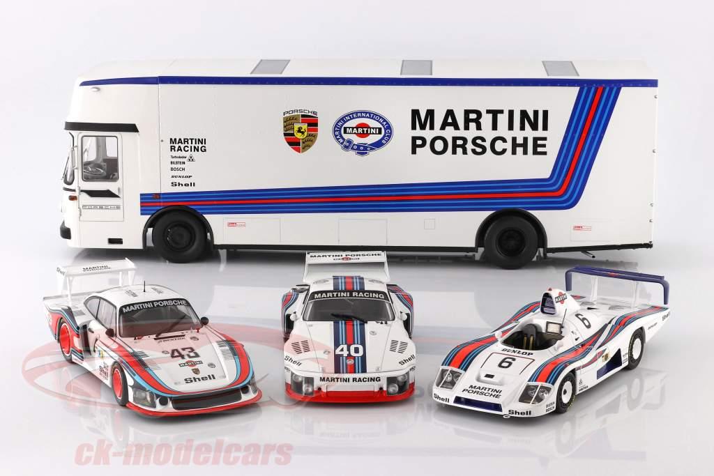 Mercedes-Benz O 317 Race Car Transporter Porsche Martini Racing white 1:18 CMR