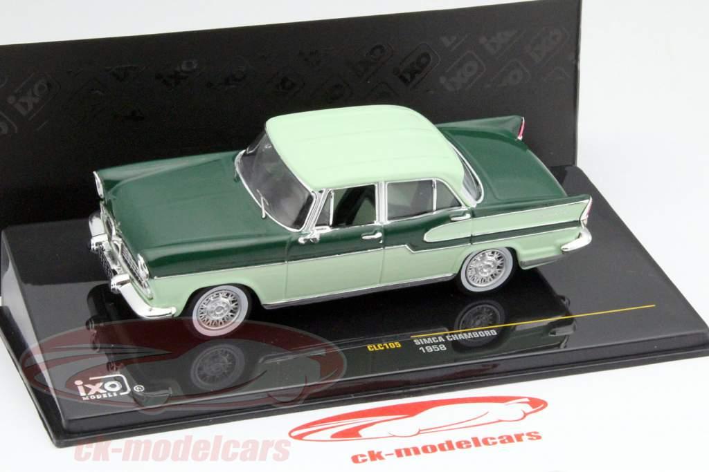 Simca Chambord jaar 1958 donker groen / licht groen 1:43 Ixo / 2e keuze