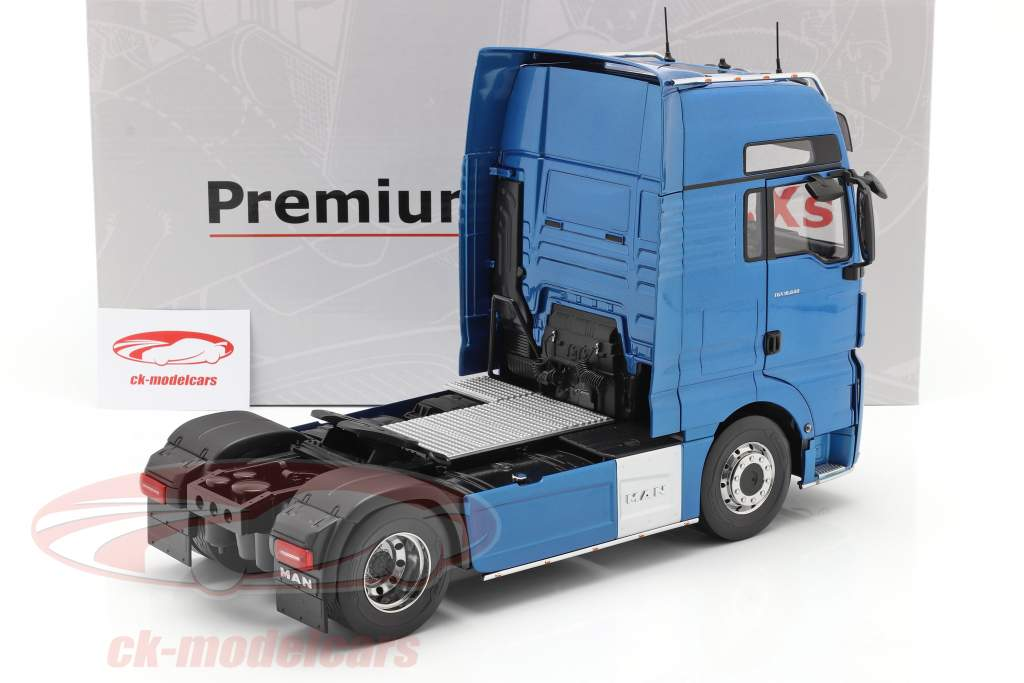MAN TGX XXL Vrachtauto Bouwjaar 2018 blauw metalen 1:18 Premium ClassiXXs