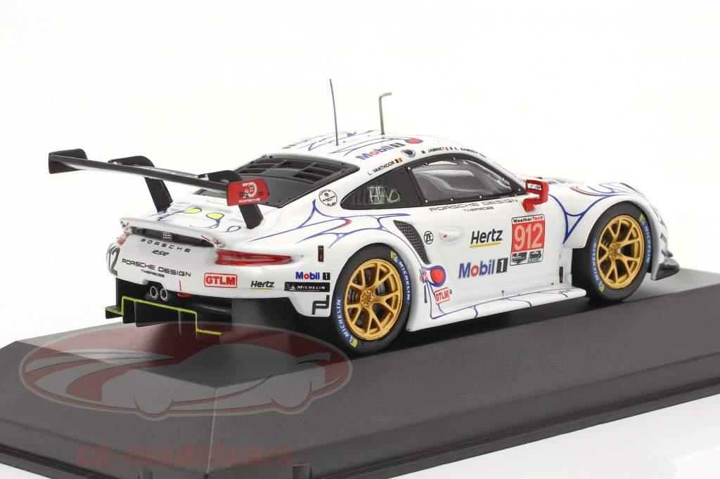 Porsche 911 (991) RSR #912 2do Clase GTLM Petit LeMans 2018 Porsche GT Team 1:43 Ixo