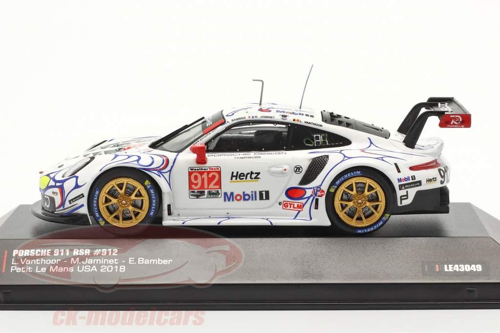 Porsche 911 (991) RSR #912 2ª Classe GTLM Petit LeMans 2018 Porsche GT Team 1:43 Ixo