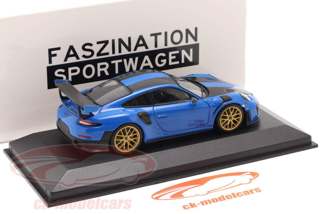 Porsche 911 (991 II) GT2 RS Weissach Package 2018 bleu vaudou / d'or jantes 1:43 Minichamps
