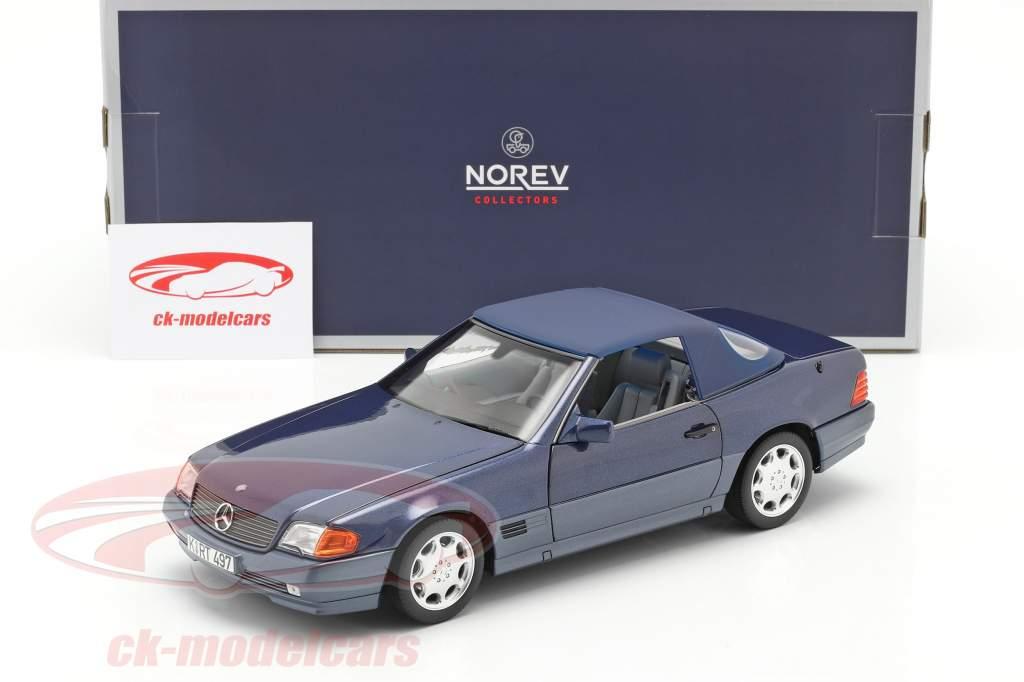 Mercedes-Benz 500 SL Cabriolet Baujahr 1989 blau metallic 1:18 Norev