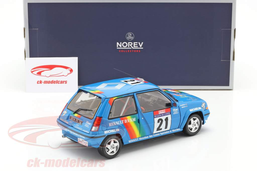 Renault SuperCinq GT Turbo #21 Tour de Corse 1990 Cirindini, Balesi 1:18 Norev