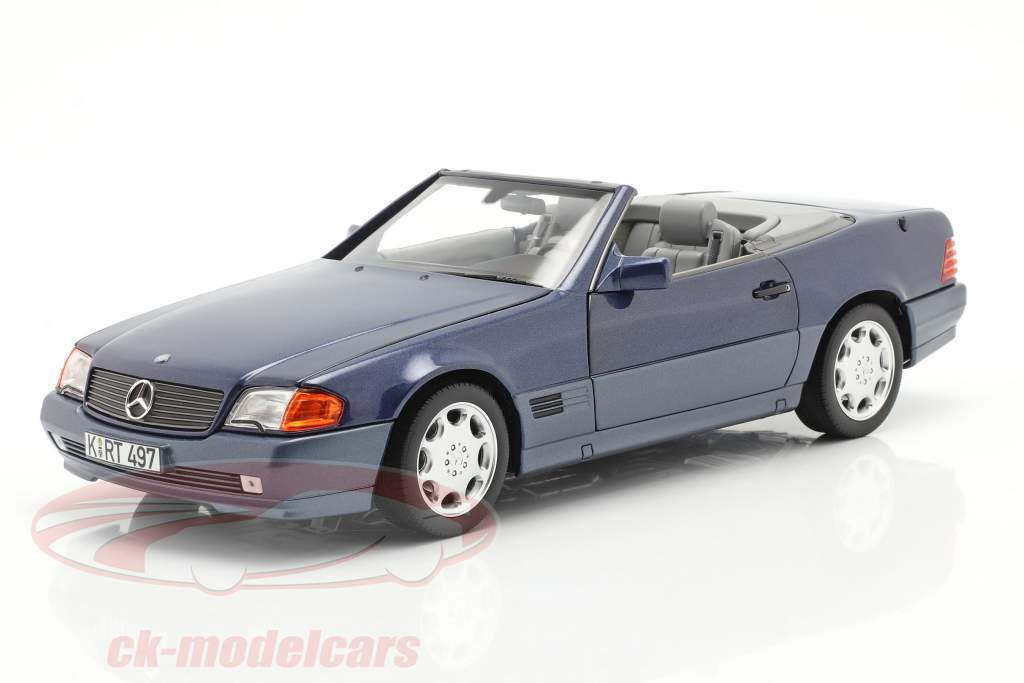 Mercedes-Benz 500 SL Cabriolet year 1989 blue metallic 1:18 Norev