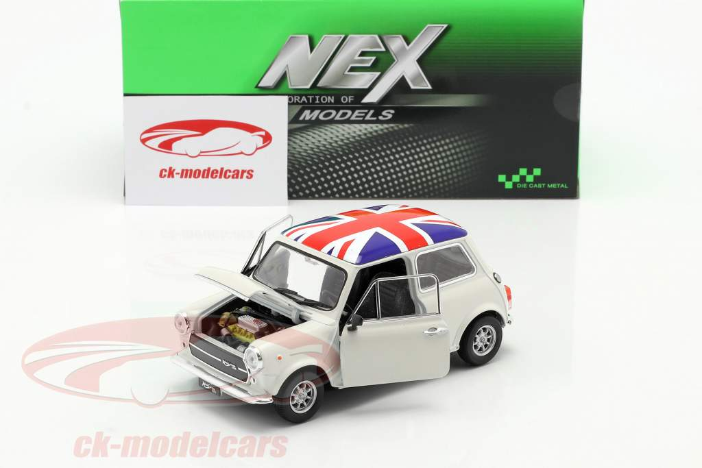 Mini Cooper 1300 with UK flag on the roof cream 1:24 Welly