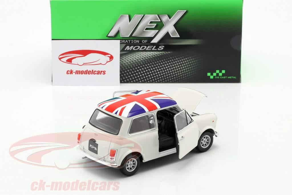 Mini Cooper 1300 Com Bandeira do Reino Unido em a topo, telhado creme 1:24 Welly
