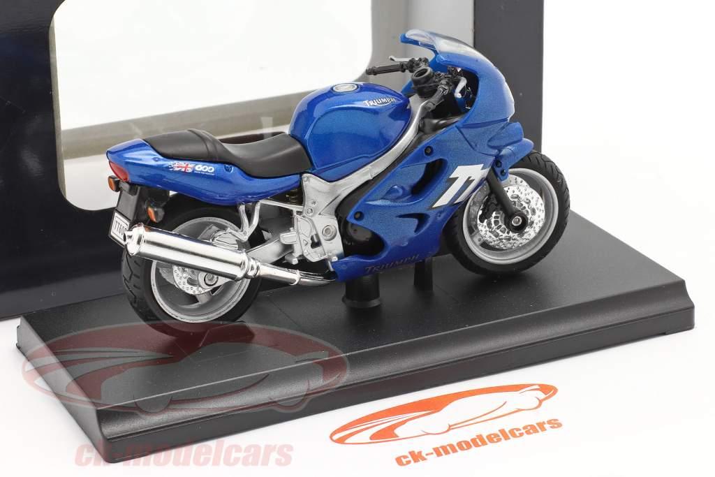 Triumph TT600 Bouwjaar 2002 blauw 1:18 Welly