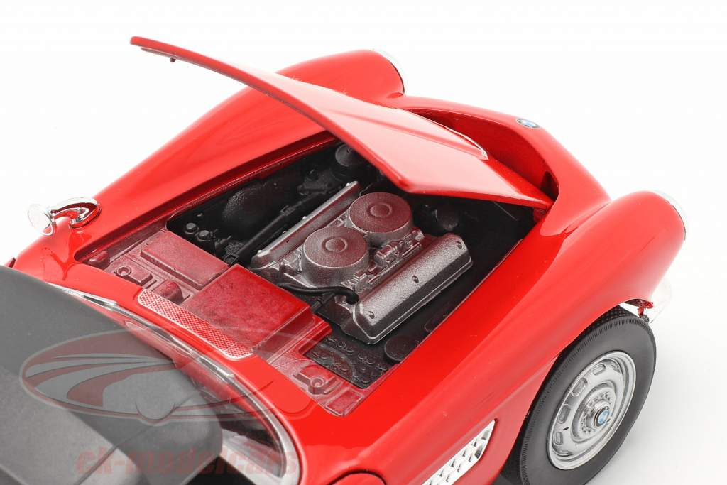 BMW 507 Convertible Closed Soft Top rojo 1:24 Welly