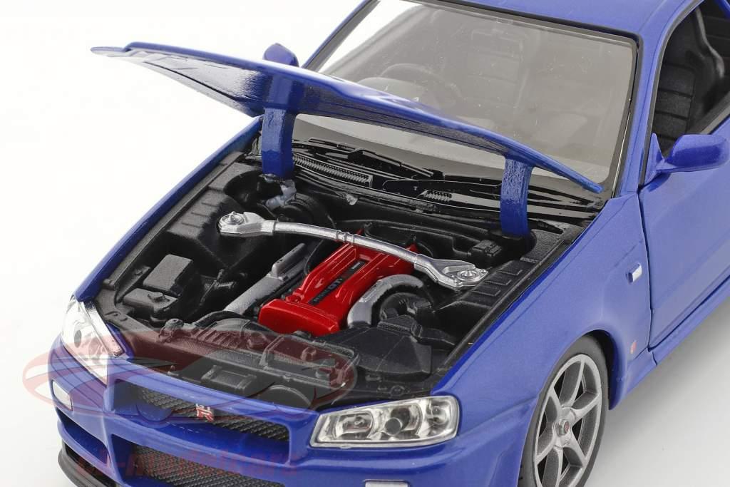 Nissan Skyline GT-R (R34) bleu 1:24 Welly