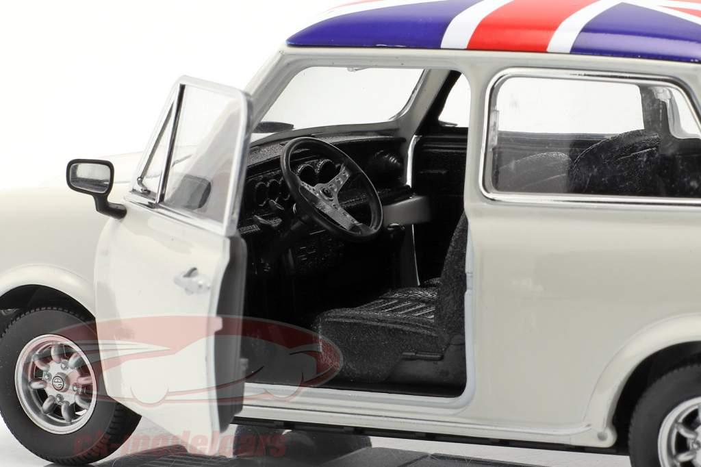 Mini Cooper 1300 Avec Drapeau britannique sur les haut, toit crème 1:24 Welly