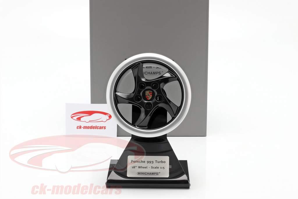 Porsche 911 (993) Turbo 1995 roue jante 18 inch noir / argent 1:5 Minichamps