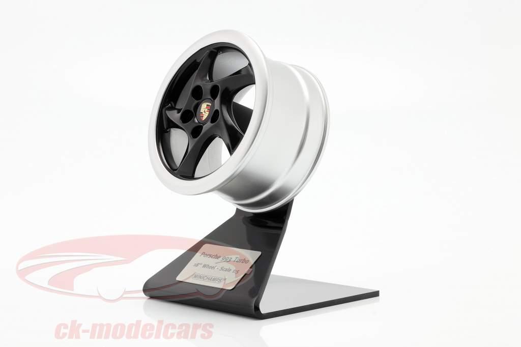 Porsche 911 (993) Turbo 1995 ruota cerchio 18 inch nero / argento 1:5 Minichamps