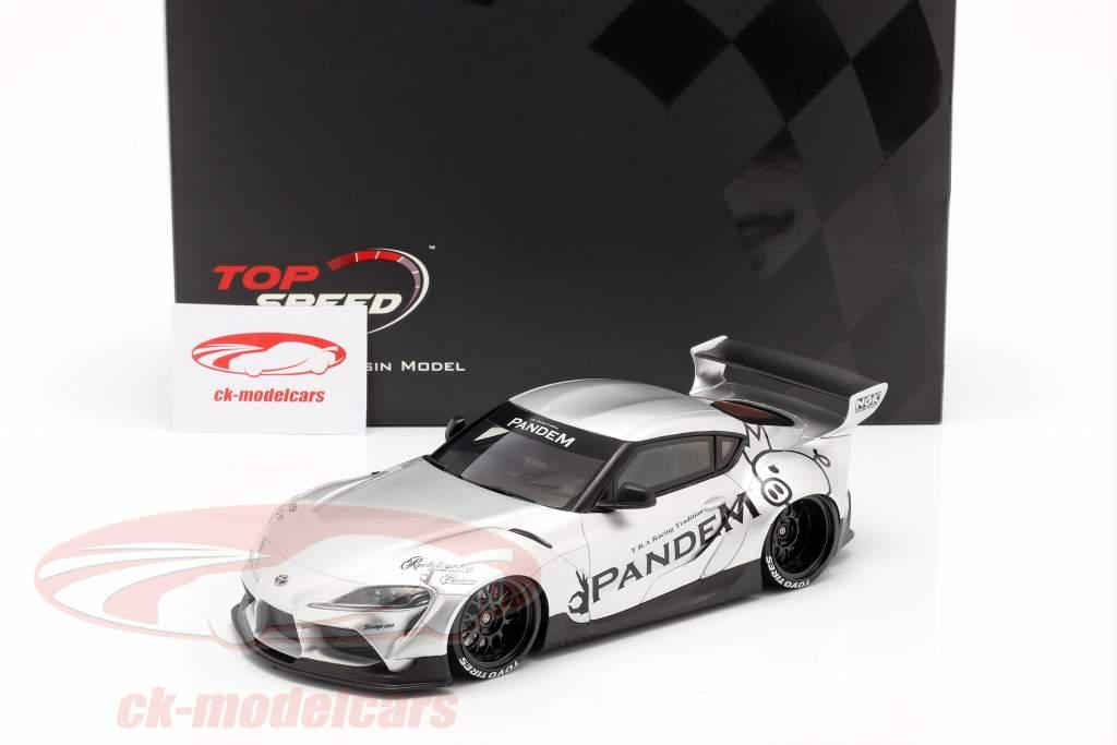 Pandem Toyota GR Supra V1.0 Bouwjaar 2020 zilver 1:18 TrueScale