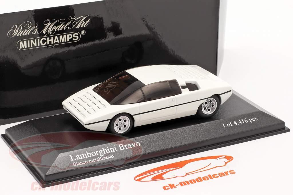 Lamborghini Bravo Byggeår 1974 malet igen 2005 hvid metallisk 1:43 Minichamps