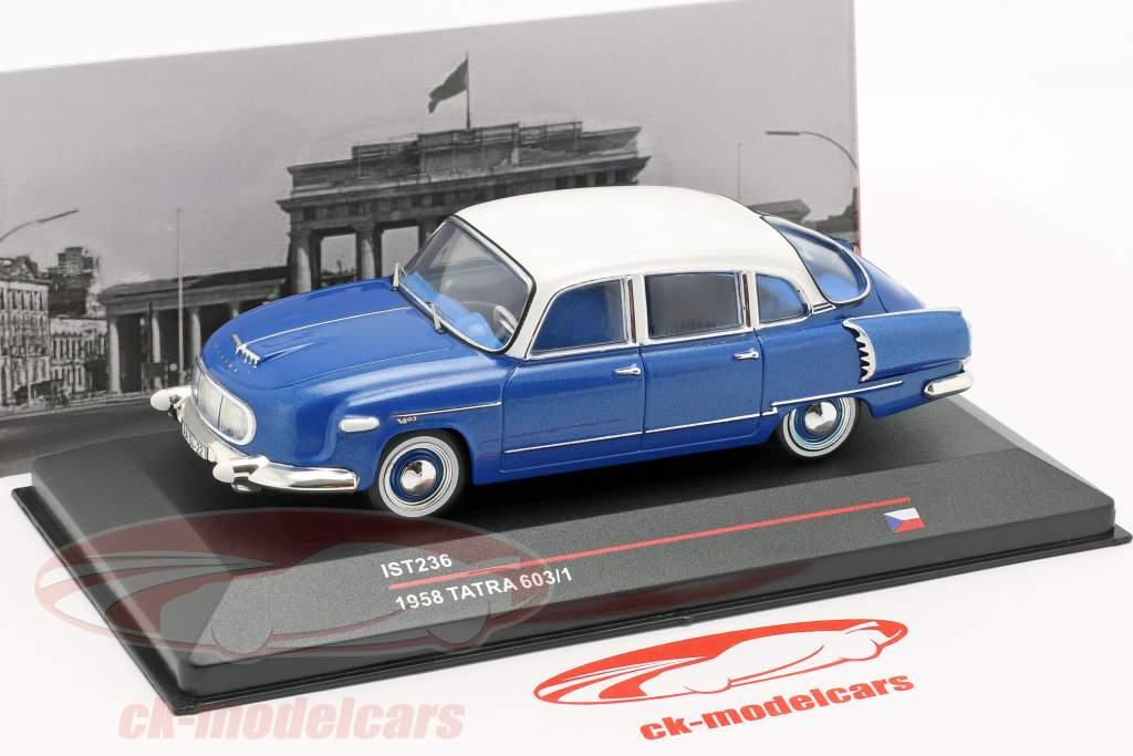 Tatra 603/1 jaar 1958 blauw metalen / wit 1:43 Ixo / 2e keuze