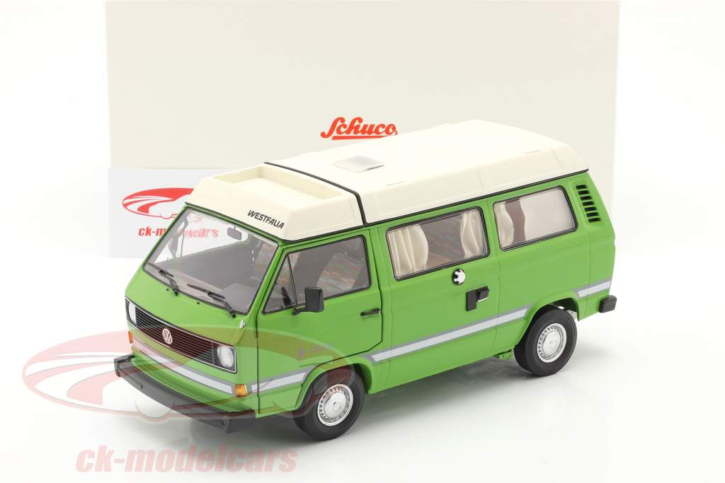 Volkswagen VW T3a Joker Camper with folding roof green 1:18 Schuco